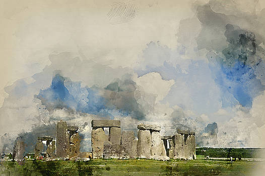Digital watercolour painting of Stonehenge in England  by Matthew Gibson