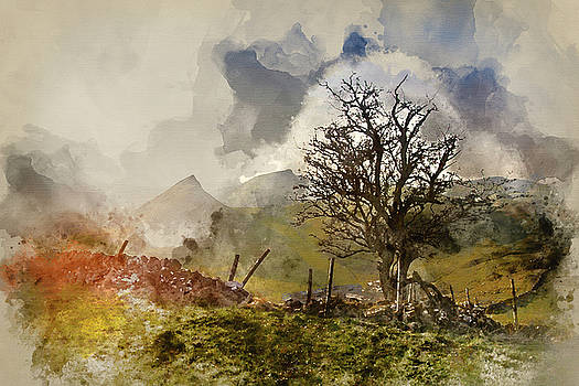 Digital watercolour painting of Stunning landscape of Chrome Hil by Matthew Gibson