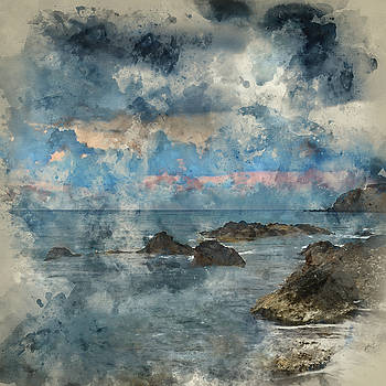 Digital watercolour painting of Stunning landscapedawn sunrise w by Matthew Gibson