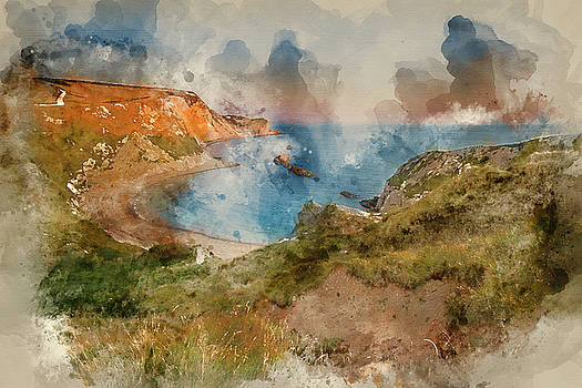 Digital watercolour painting of Stunning natural cove coastal la by Matthew Gibson