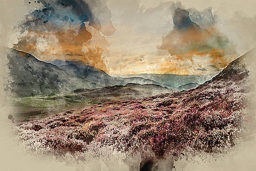 Digital watercolour painting of Stunning sunrise mountain landsc by Matthew Gibson