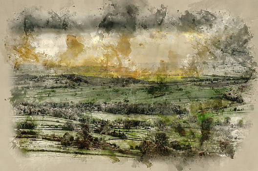 Digital watercolour painting of Sunbeams over Big Moor in Peak D by Matthew Gibson
