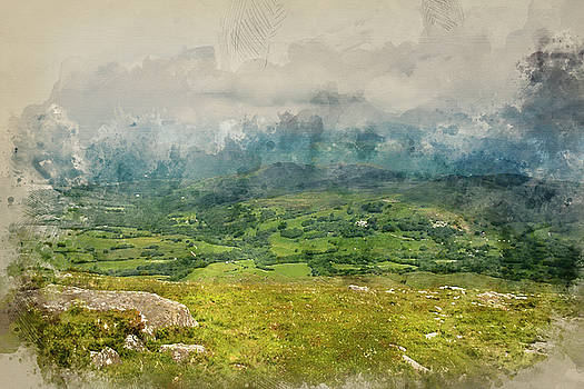 Digital watercolour painting of View from Cadair Idris mountain  by Matthew Gibson