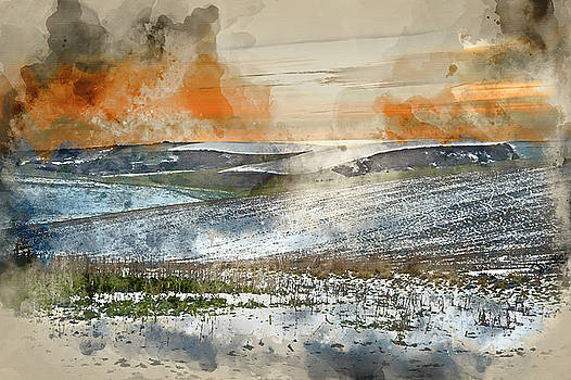Digital watercolour painting of Winter snow landscape over field by Matthew Gibson