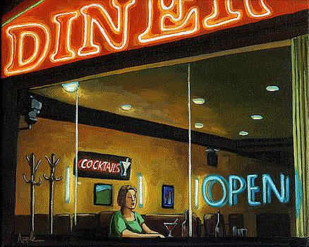 Diner - Night Oil Painting by Linda Apple