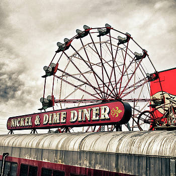 Diner Car Ferris Wheel Square Format by Tony Grider
