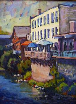 Dining over Silver Creek by Margaret  Plumb