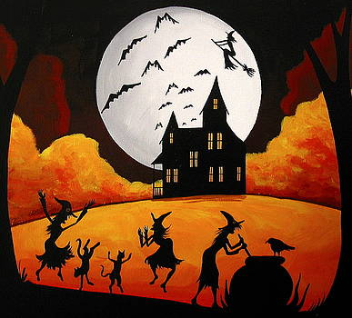 Dinner And A Show - Halloween landscape by Debbie Criswell