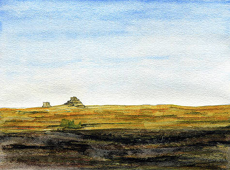 Distant Courthouse and Jail Rocks by R Kyllo