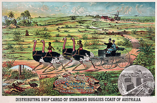 Distributing ship cargo of standard buggies coast of Australia 1900 by Vintage Printery