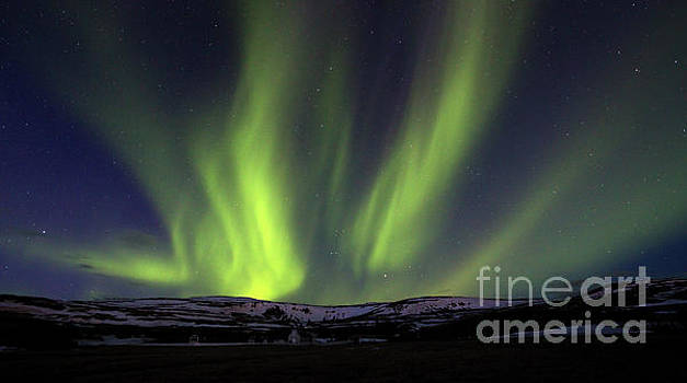 Divinity - Northern Lights over Hvammstangi Church by Matt Tilghman