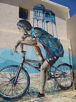 Djerba Street Art Boy on Bike by Exploramum Exploramum