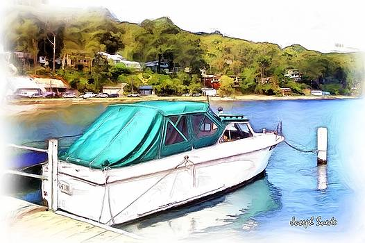 DO-00276 Green Boat in Killcare by Digital Oil