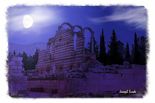 DO-00308 Moon and Clouds - Anjar Ruins by Digital Oil