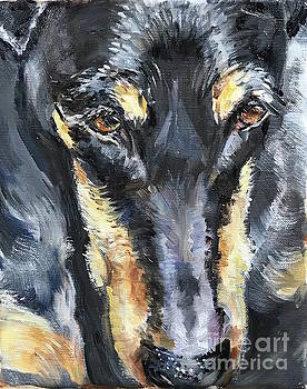 Doberman Oil Painting by Maria's Watercolor