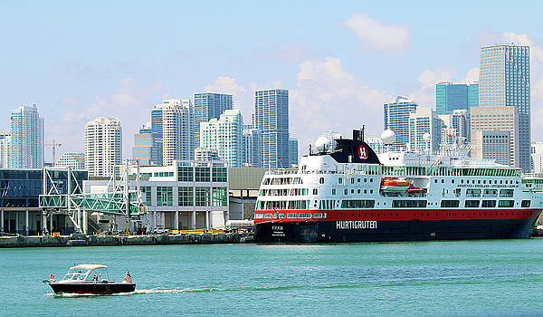 Docked in Port of Miami by Art Block Collections
