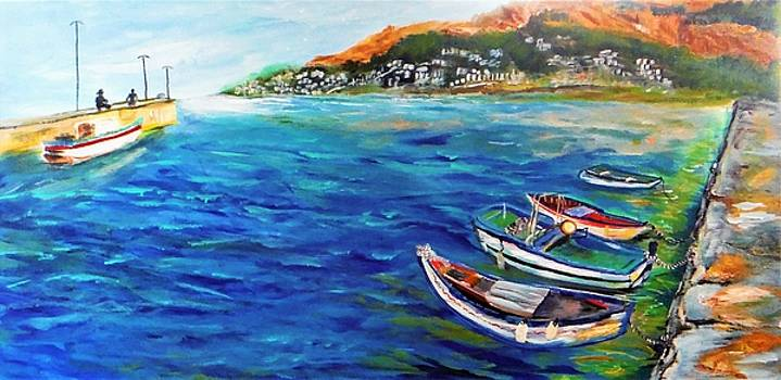 Docks at Mondello Bay Sicily by Jacqueline Whitcomb