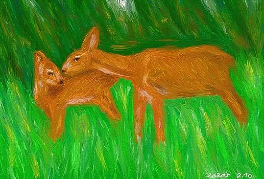 Doe And Fawn by Lazar Caran