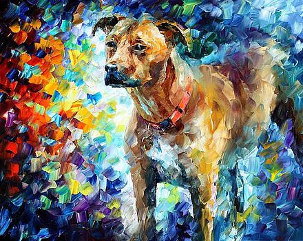 Dog 3 - PALETTE KNIFE Oil Painting On Canvas By Leonid Afremov by Leonid Afremov
