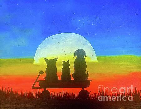 Dog and Cat Sunset by Tony B Conscious