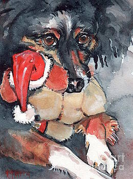 Dog and Santa Puppy  by Maria's Watercolor