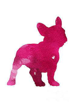 French Bulldog, Dog art print, Raspberry, Dog silhouette, Pink watercolor painting by Joanna Szmerdt
