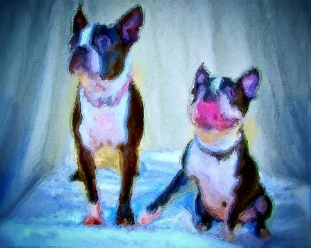 Dog portrait of pets super cute animals painted on canvas in bright colors abstract and texture with pink tongues and happy faces seated on cloth in cool tones summer blues true friends by MendyZ