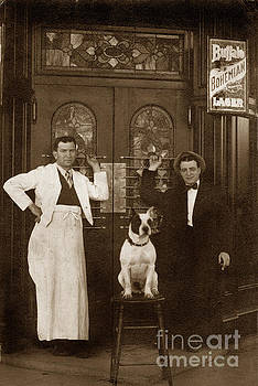 California Views Archives Mr Pat Hathaway Archives - Dog Sitting On A Barstool with  bartender circa 1910