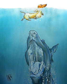 John LaFree - Dog-Themed JAWS Caricature Art Print