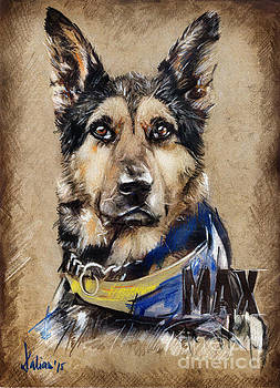 Dog traditional drawing by Daliana Pacuraru