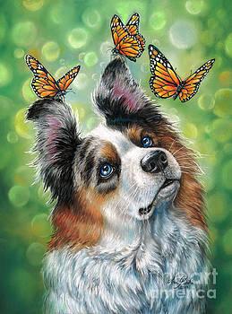 Dog with butterflies by Anne Koivumaki - Fine Art Anne