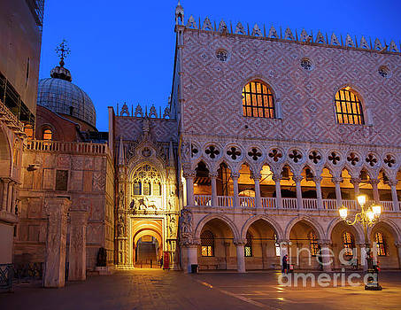Doge's Palace at Night in Venice Italy by Louise Heusinkveld