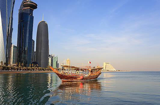 Doha dhow and towers  by Paul Cowan
