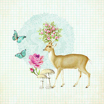 Doily deer by Wendy Paula Patterson