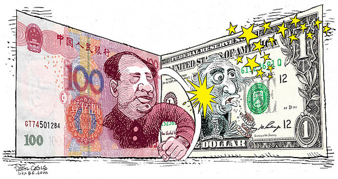 Dollar vs Yen by Daryl Cagle