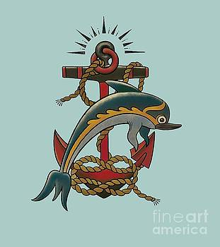 Dolphin with anchor by Susan Wall