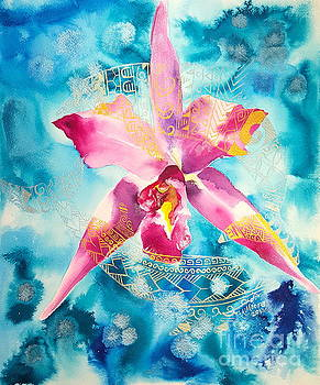Dolphins and Orchid by Kristine Moore