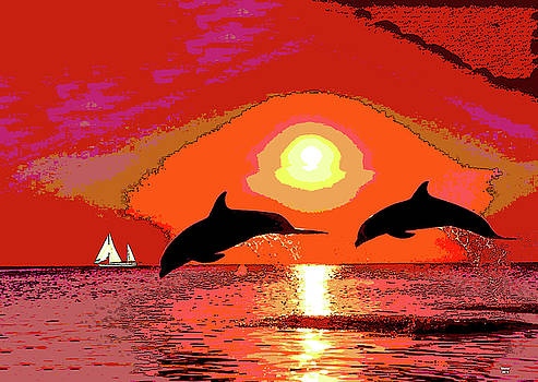 Dolphins At Sunset by Charles Shoup