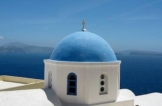 Dome of an Orthodox Church on Santorini island by Yuri Hope