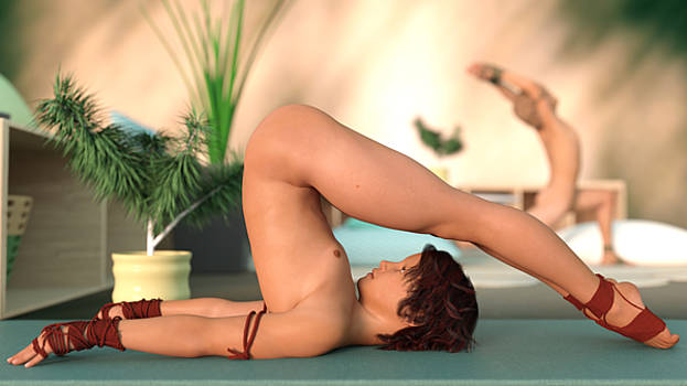 Donevan's first Yoga Lesson nude by Marlon Baker