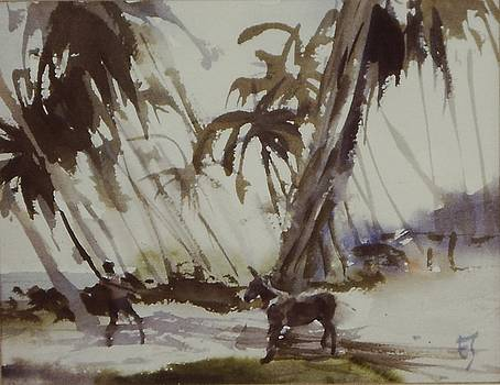 Donkey and Boy Sketch by Charles Hawes