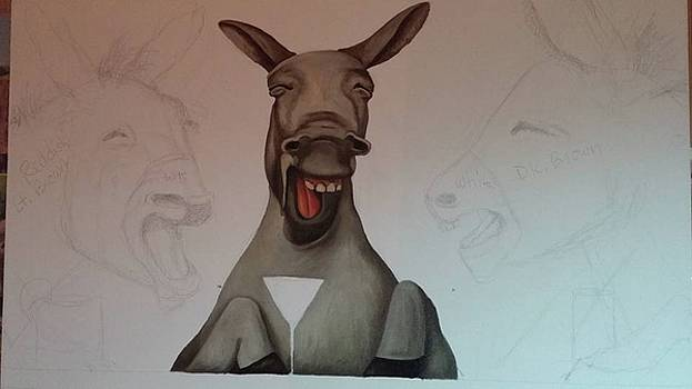 Leah Saulnier The Painting Maniac - Donkeys Laughing work in progress