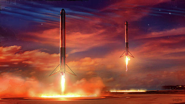 Double Booster Landing Space-X by James Vaughan