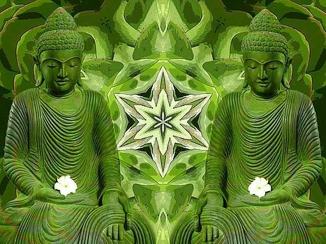 Double Green Buddhas by Diane Lynn Hix