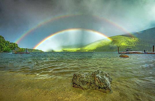 Double Rainbow Over Kootenay Lake  by Joy McAdams