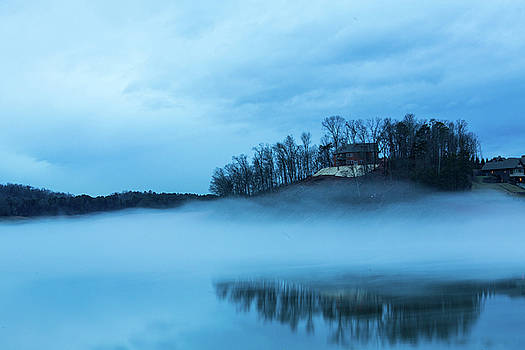 Douglas Lake in Dandridge Tennessee on a Foggy Night by Carol Mellema