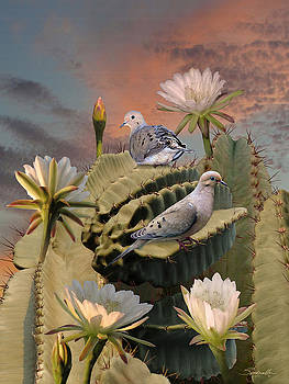 Doves and Peruvian Apple Cactus by Spadecaller
