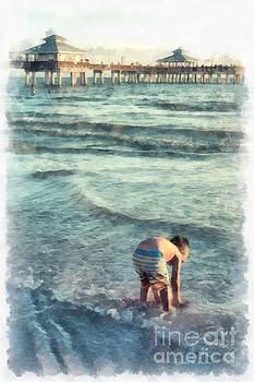Edward Fielding - Down at the Shore Watercolor