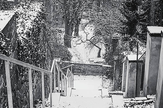 Down by Snowy Old Stairs. Black and White by Jenny Rainbow