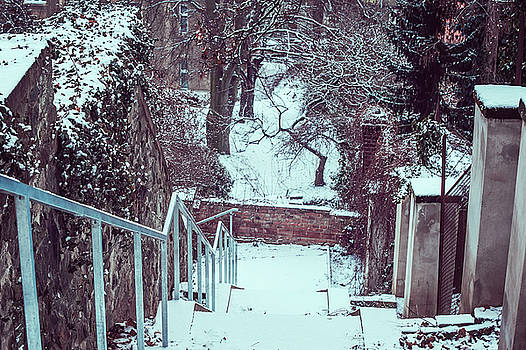 Down by Snowy Old Stairs by Jenny Rainbow